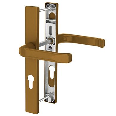 Dveřní klika K-K zlatá (imitace bronzu), štít 32, rozteč 92(108.GOLD.32.92)