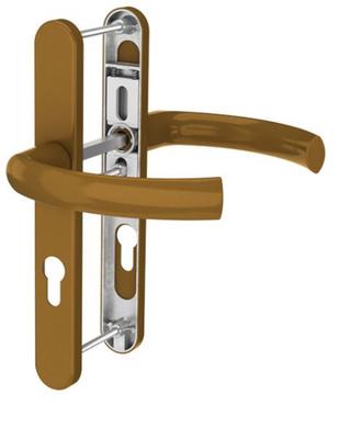 Dveřní klika K-K zlatá (imitace bronzu), štít 36, rozteč 92, s překrytím(109.GOLD.36.92.AR)