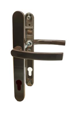 Dveřní klika K-K hnědá RAL8019, štít 30,rozteč 92, s vrat. pruž.,rozteč Hop(11105H)
