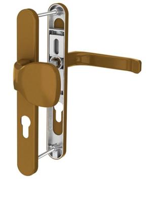 Dveřní klika K-KO zlatá (imitace bronzu), štít 32, rozteč 92(116.GOLD.32.92)