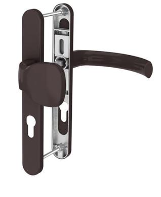 Dveřní klika K-KO hnědá, štít 36, rozteč 92, s překrytím(117.8019.36.92.AR)