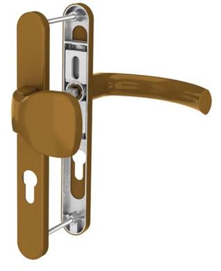 Dveřní klika K-KO zlatá (imitace bronzu), štít 36, rozteč 92, s překrytím(117.GOLD.36.92.AR)