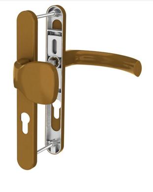 Dveřní klika K-KO zlatá (imitace bronzu), štít 52, rozteč 92, překrytí_(117.GOLD.52.92.AR)