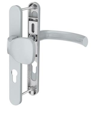 Dveřní klika K-KO stříbrná, štít 36, rozteč 92, s překrytím(117.SILVER.36.92.AR)
