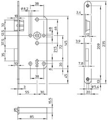 Zadlabávací zámek 72/85/20 dorn 55, BB klíč, plast. střelka, nikl stříbrný, levý