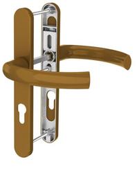 Dveřní klika K-K zlatá (imitace bronzu), štít 36, rozteč 92, s překrytím