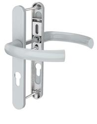 Dveřní klika K-K stříbrná, štít 36, rozteč 92, s překrytím