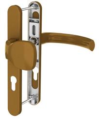 Dveřní klika K-KO zlatá (imitace bronzu), štít 36, rozteč 92, s překrytím