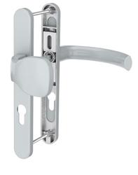 Dveřní klika K-KO stříbrná, štít 36, rozteč 92, s překrytím
