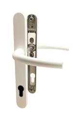 Dveřní klika K-K bílá RAL9016, štít 30, rozteč 92, s vrat. pružinou