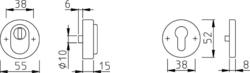 Rozeta kulatá s překrytím, ušlechtilá ocel F69 - pár