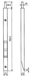 Štulpová zástrč do drážky 16mm,š.13mm,d.150 nikl