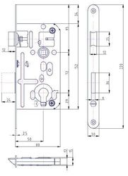 Zadlabávací zámek 72/80/20/vložkový , s převodem, dvouzápadový, stříbrný