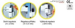 Závěsy pro hliníkové dveře Mechanica 2-dílné rozteč 62,5(es000257)