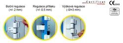Závěsy pro hliníkové dveře Mechanica 3-dílné rozteč 62,5(es000259)